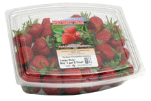 strawberries in clamshell with label